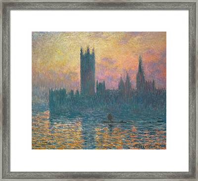 The Houses Of Parliament, Sunset Framed Print