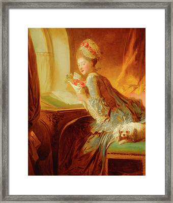 Framed Print featuring the painting The Love Letter by Jean Honore Fragonard