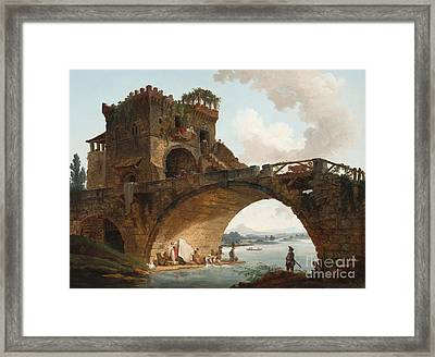 The Ponte Salario Framed Print by Hubert Robert