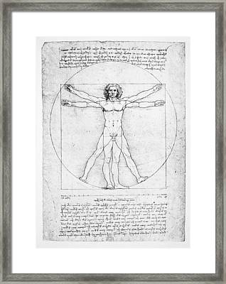 The Proportions Of The Human Figure Framed Print by Leonardo Da Vinci