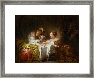 The Stolen Kiss Framed Print by Jean-Honore Fragonard