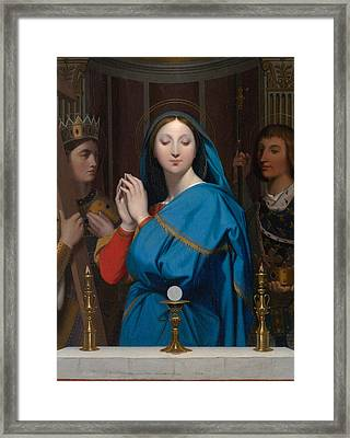 The Virgin Adoring The Host Framed Print by Jean-Auguste-Dominique Ingres