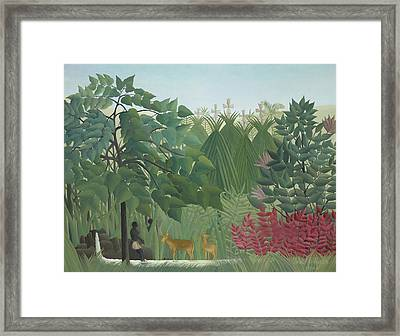 The Waterfall Framed Print by Henri Rousseau