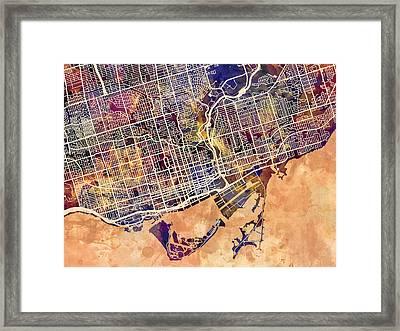 Toronto Street Map Framed Print by Michael Tompsett