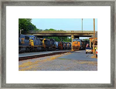 3 Train Meet In Monroe Framed Print by Joseph C Hinson Photography