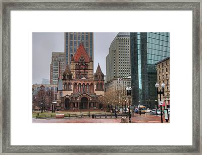 Framed Print featuring the photograph Trinity Church - Copley Square - Boston by Joann Vitali