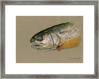 Trout Watercolor Painting Framed Print by Juan  Bosco