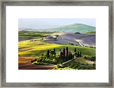 Tuscany Landscape At Sunrise Framed Print by Michal Bednarek