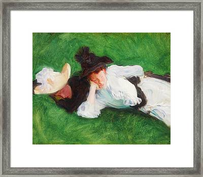 Two Girls On A Lawn Framed Print