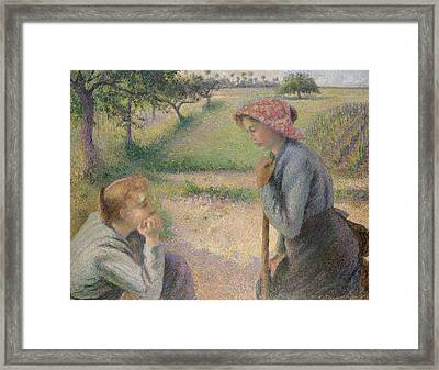 Two Young Peasant Women Framed Print by Camille Pissarro