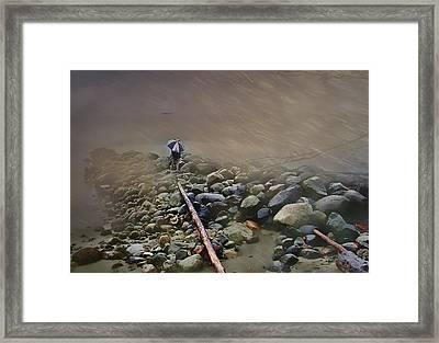 Umbrella On The Rocks Framed Print by Dale Stillman