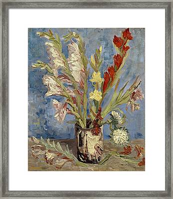 Vase With Gladioli And China Asters Framed Print by Vincent van Gogh
