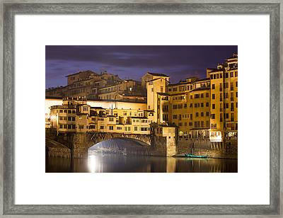 Vecchio Bridge At Night Framed Print by Andre Goncalves