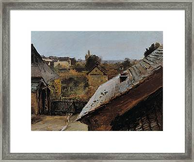 View Of Roofs And Gardens Framed Print by Carl Blechen