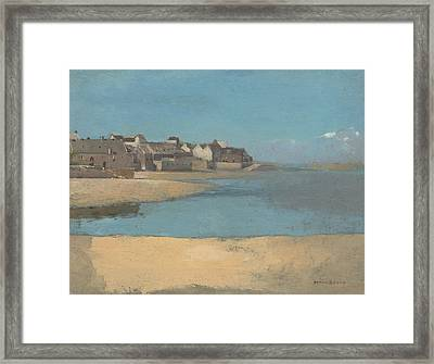 Village By The Sea In Brittany  Framed Print by Odilon Redon