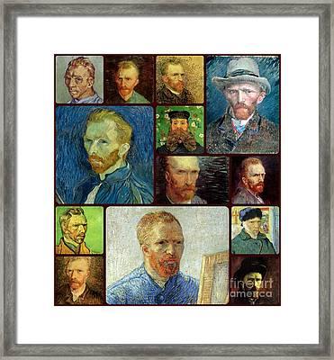Vincent Van Gogh Self Portrait Collage Framed Print