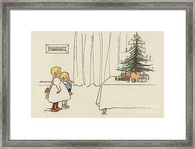 Vintage Christmas Card Framed Print