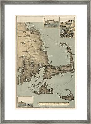 Vintage Map Of Cape Cod  Framed Print by CartographyAssociates