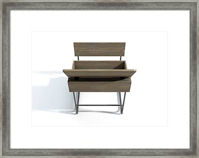 Vintage School Desk Open Empty Framed Print
