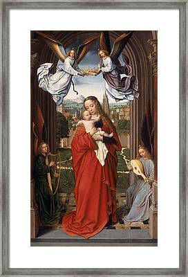 Virgin And Child With Four Angels Framed Print by Gerard David