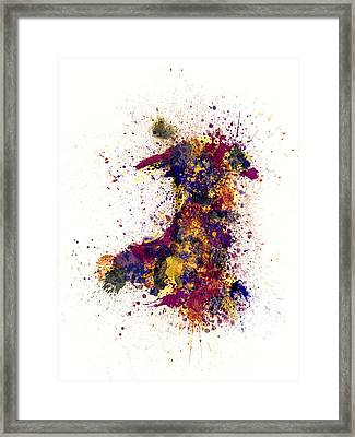Wales Paint Splashes Map Framed Print by Michael Tompsett