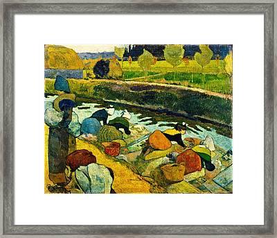 Washerwomen Framed Print by Paul Gauguin