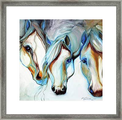 3 Wild Horses In Abstract Framed Print by Marcia Baldwin