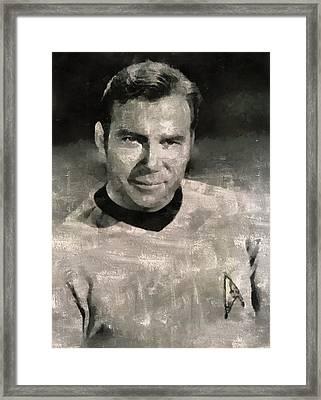 William Shatner Star Trek's Captain Kirk Framed Print by Mary Bassett
