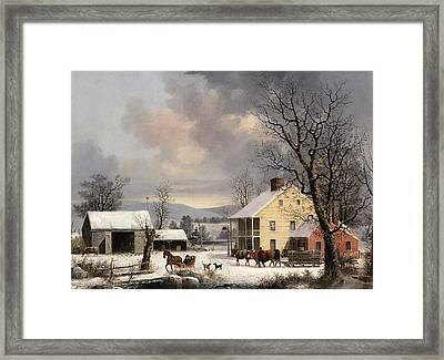 Winter In The Country Framed Print by George Henry Durrie