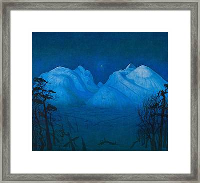 Winter Night In The Mountains Framed Print