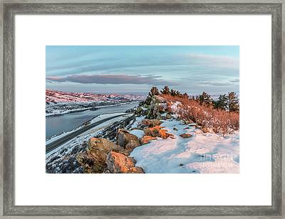 winter sunrise over Horsetooth Reservoir Framed Print by Marek Uliasz