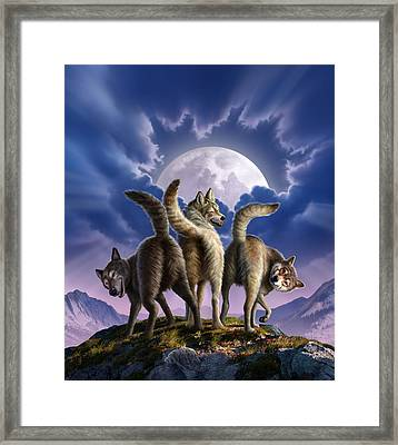 3 Wolves Mooning Framed Print by Jerry LoFaro