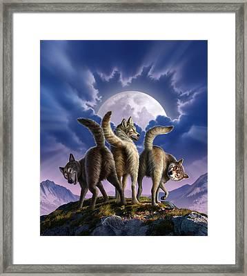 3 Wolves Mooning Framed Print by Jerry LoFaro