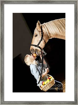 Woman And Horse With Apples Framed Print