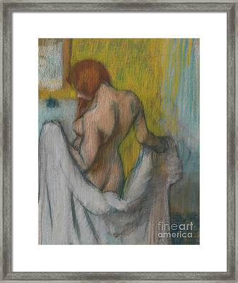 Woman With A Towel Framed Print by Edgar Degas