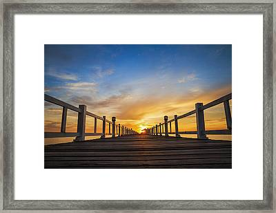 Wooded Bridge In The Port Between Sunrise Framed Print