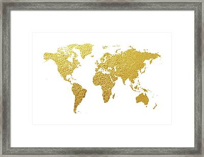 World Map Gold Foil Framed Print