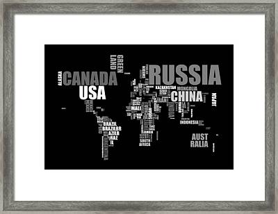 World Map In Words Framed Print