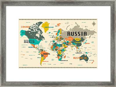 World Map Framed Print by Jazzberry Blue