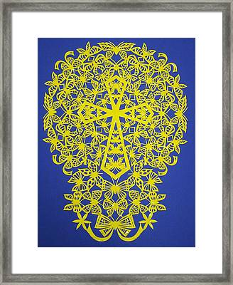 Yellow Butterfly-cross Framed Print by Tong Steinle