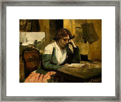 Young Girl Reading Framed Print by Jean-Baptiste-Camille Corot