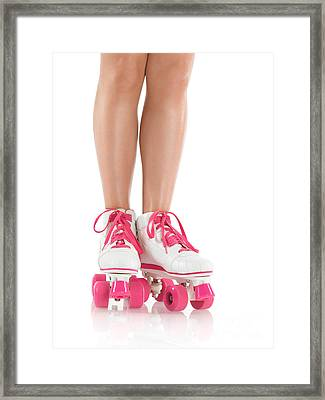Young Woman Wearing Roller Derby Skates Framed Print