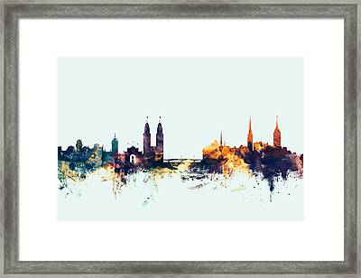 Zurich Switzerland Skyline Framed Print by Michael Tompsett