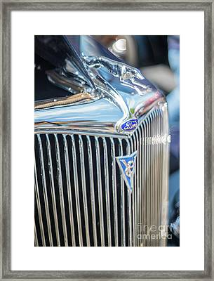 30s Vintage Ford Radiator And Chrome Greyhound Framed Print by Mike Reid