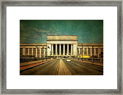 Framed Print featuring the mixed media 30th Street Station Traffic by Trish Tritz