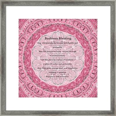 Hebrew And English Business Blessing Framed Print