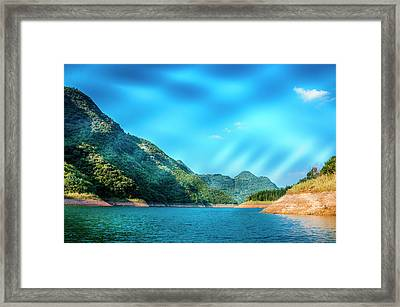 The Mountains And Reservoir Scenery With Blue Sky Framed Print