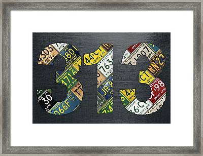313 Area Code Detroit Michigan Recycled Vintage License Plate Art Framed Print by Design Turnpike