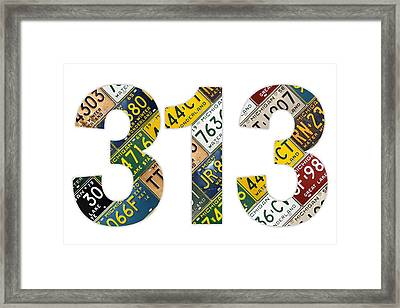 313 Area Code Detroit Michigan Recycled Vintage License Plate Art On White Background Framed Print by Design Turnpike