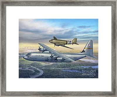 314th Aw Legacy - C-130j And C-47 Framed Print by Stu Shepherd
